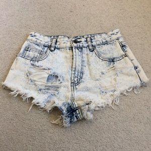 Forever 21 High Waist Acid Wash Distressed Shorts